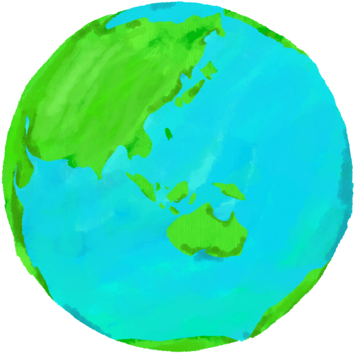アートな水彩地球のイラスト