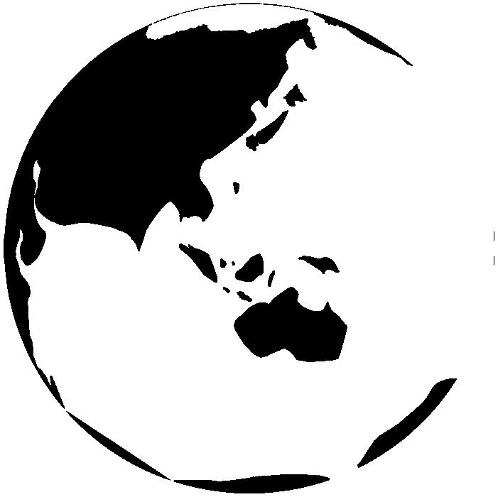 白黒シルエットの地球のイラスト