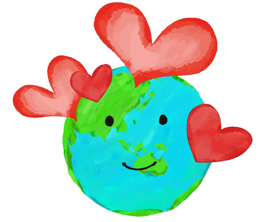 地球のイラスト 可愛いエコロジーイメージ無料素材 チコデザ