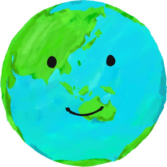 笑顔の地球のイラスト