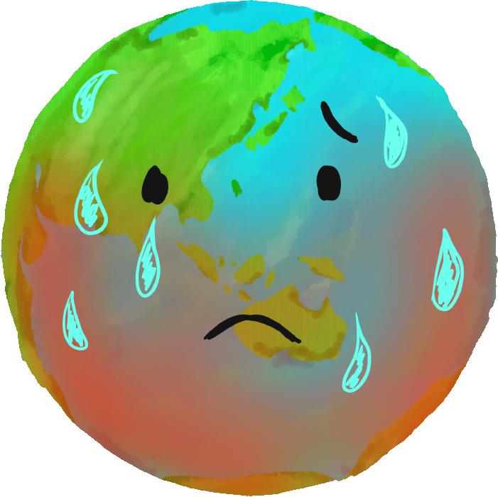 温暖化の地球のイラスト