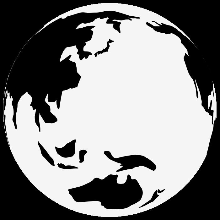 白黒の地球のイラスト