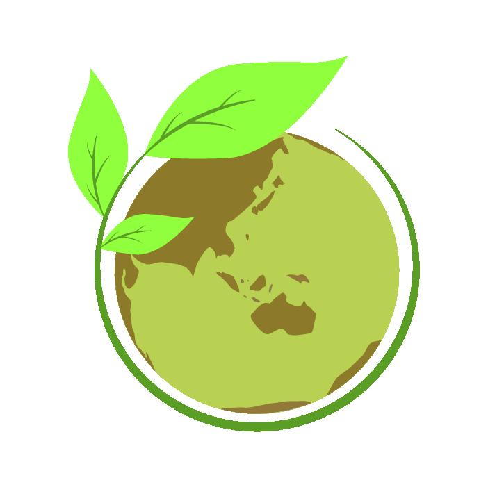 エコな葉っぱと地球のイラスト