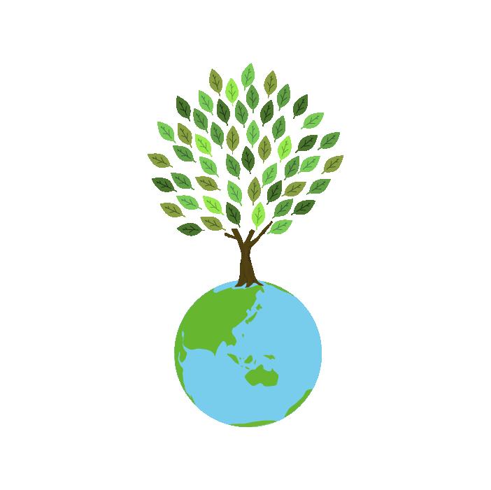 木が生える地球のイラスト