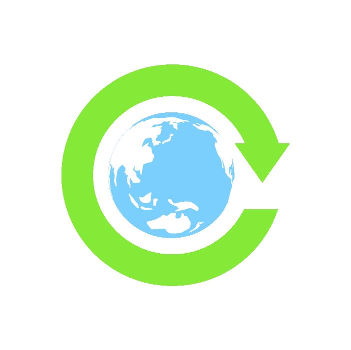 回転矢印と地球のイラスト