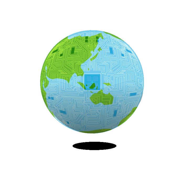 デジタルな地球のイラスト