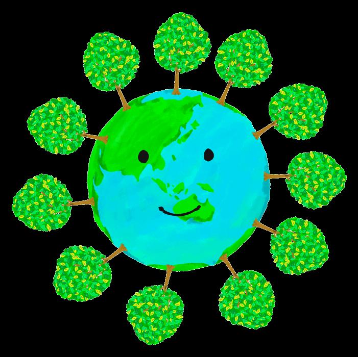 木の生えた地球のイラスト2