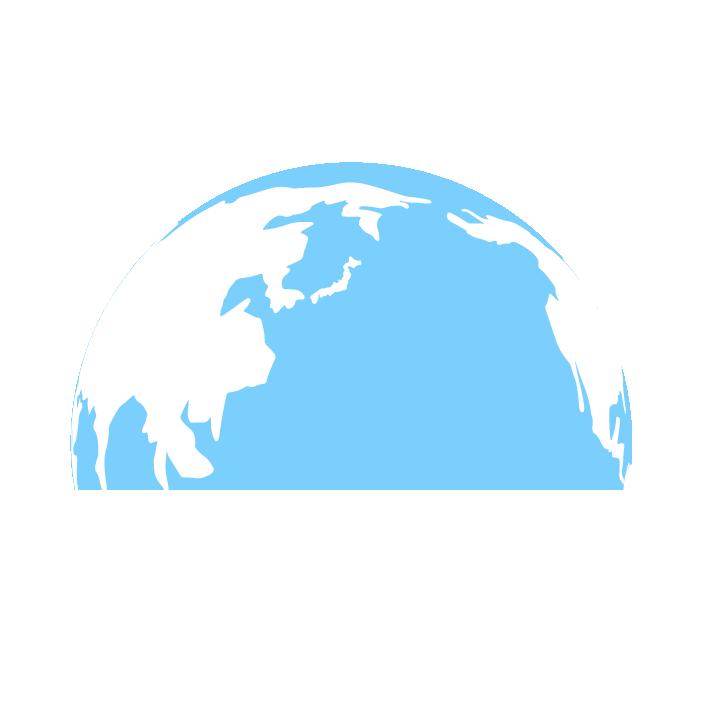 半分の地球のイラスト(水色)
