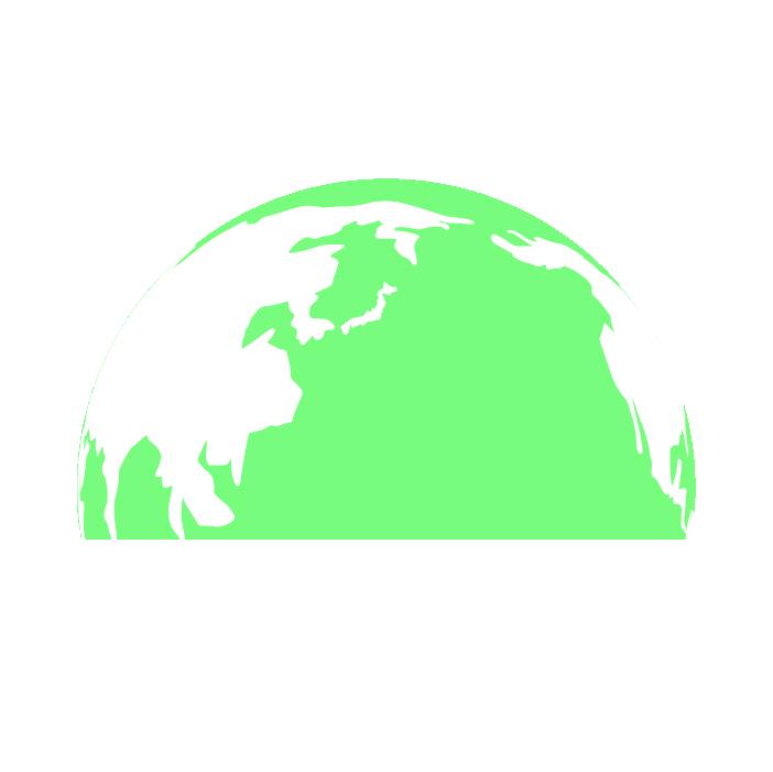 半分の地球のイラスト(緑)