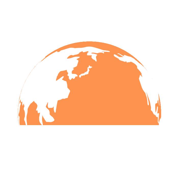 半分の地球のイラスト(オレンジ)