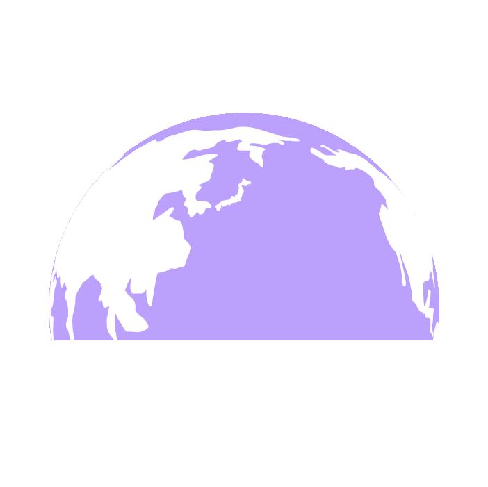 半分の地球のイラスト(紫)