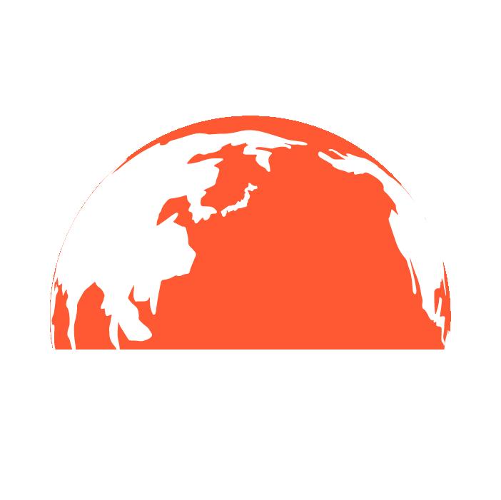 半分の地球のイラスト(赤)