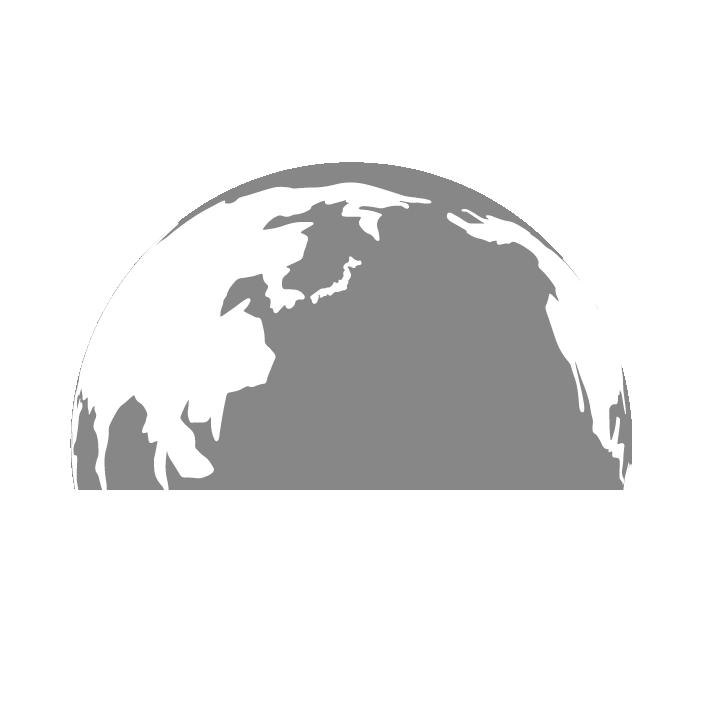 半分の地球のイラスト(グレー)