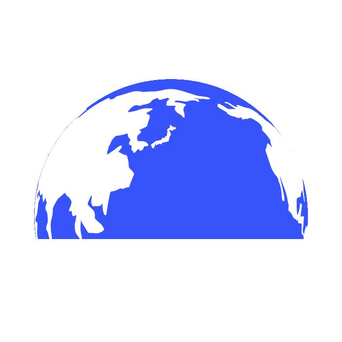 半分の地球のイラスト(青)