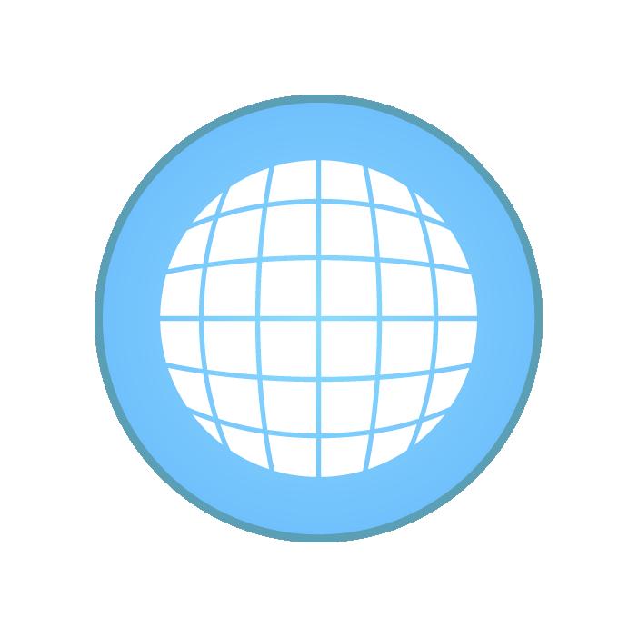 地球アイコンイラスト(白)