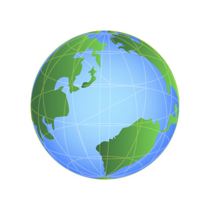 リアルな地球アイコンイラスト(カラー)