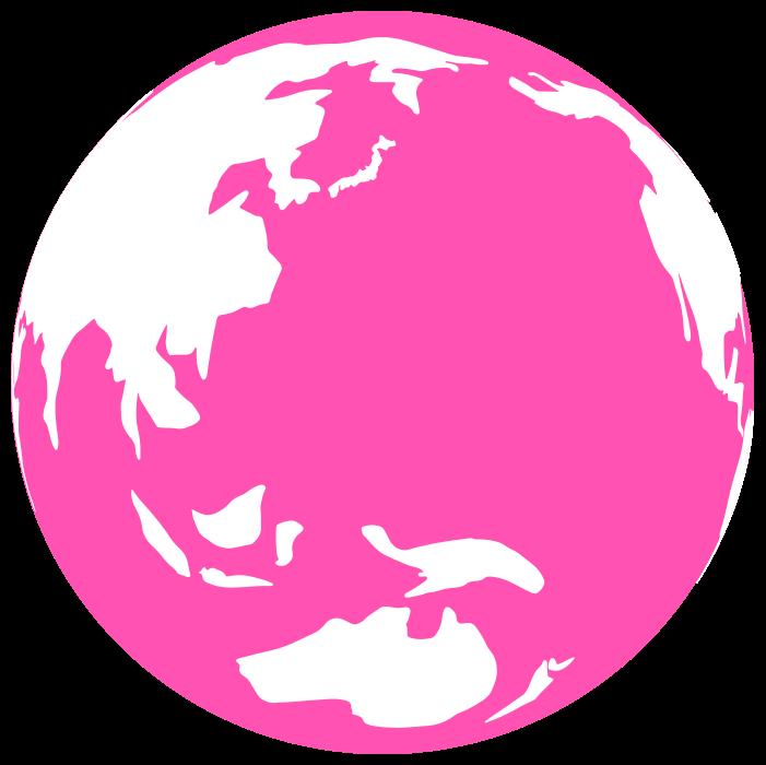 ピンクの地球のイラスト