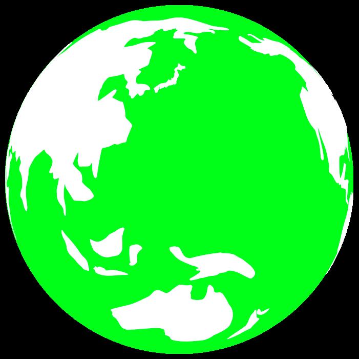黄緑の地球のイラスト