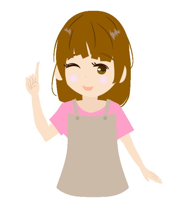 指を差す主婦(右手)のイラスト