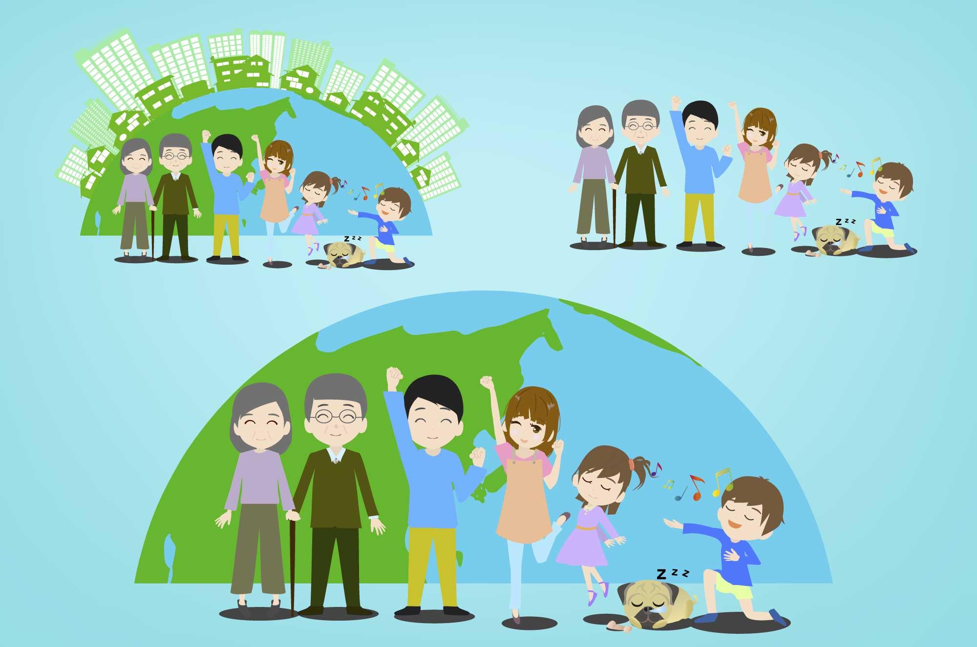 エコな家族のイメージと風景フリーイラスト無料素材