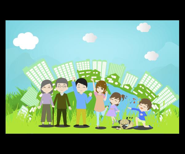 エコな家族と都市のイラスト