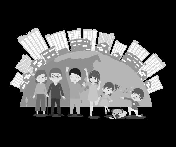 地球と都市と家族(白黒)のイラスト