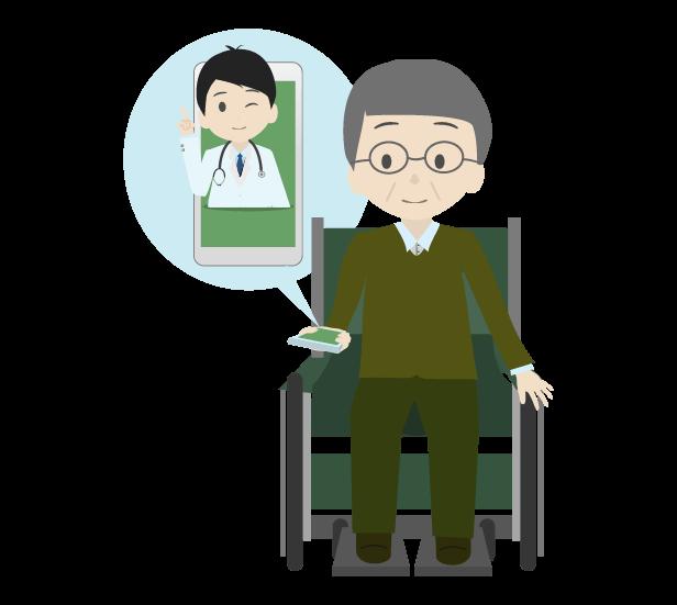 遠隔医療と患者のイラスト