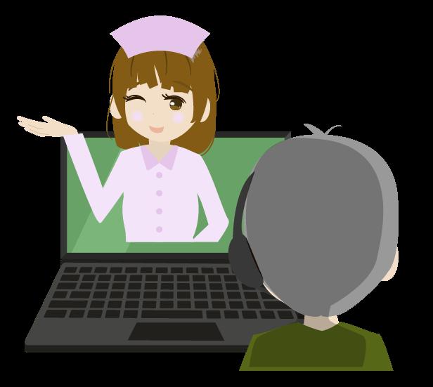 看護師と遠隔カウンセリングのイラスト