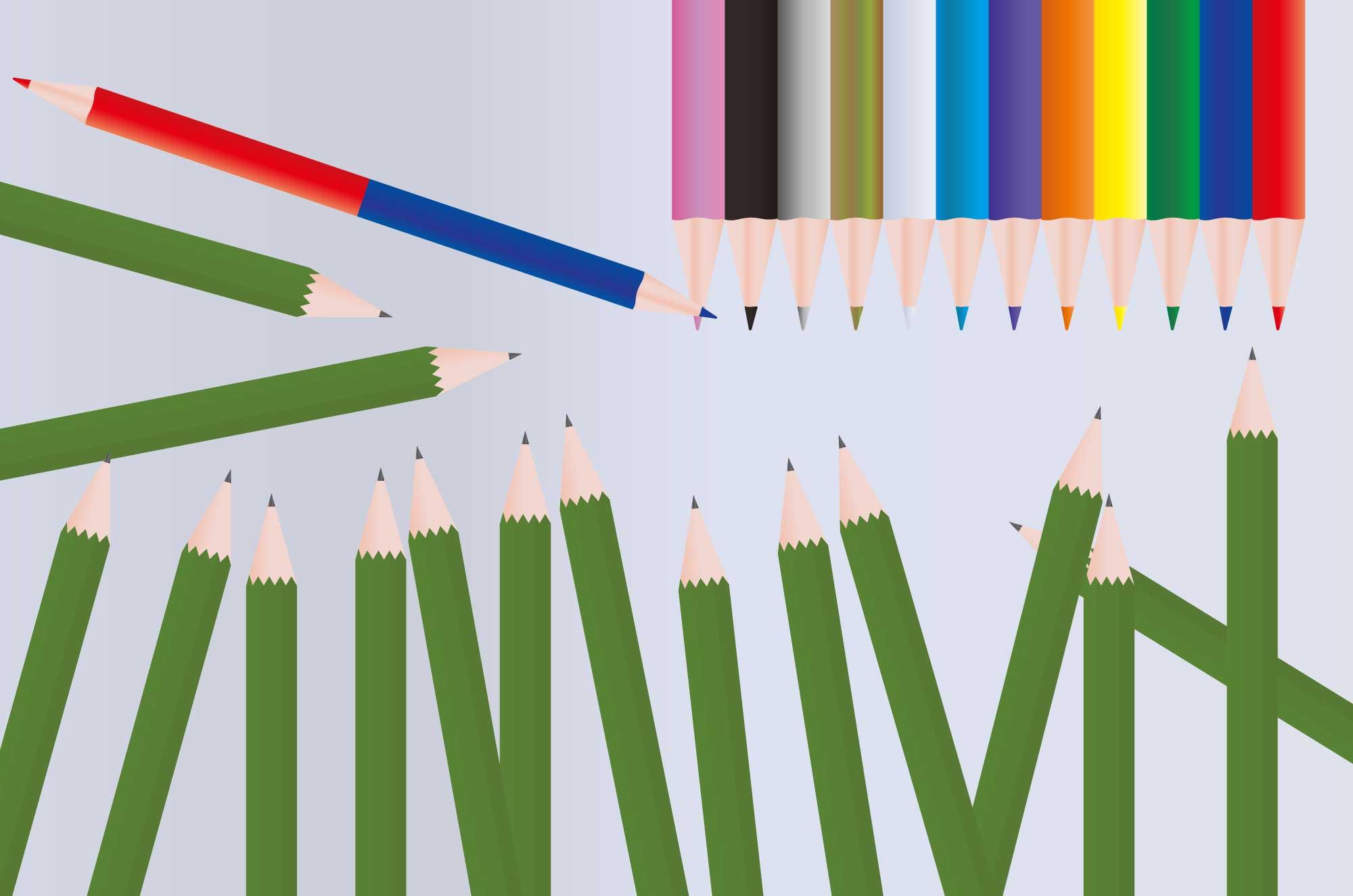 鉛筆イラスト - アイコン・色鉛筆・9H〜6Bの無料素材
