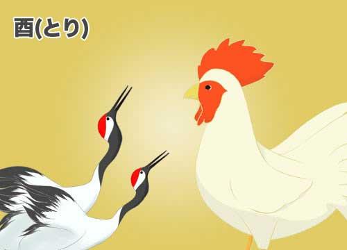 酉(とり)鳥のイラスト
