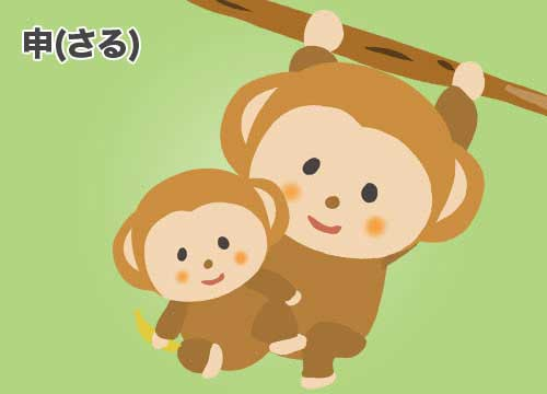 申(さる)猿のイラスト
