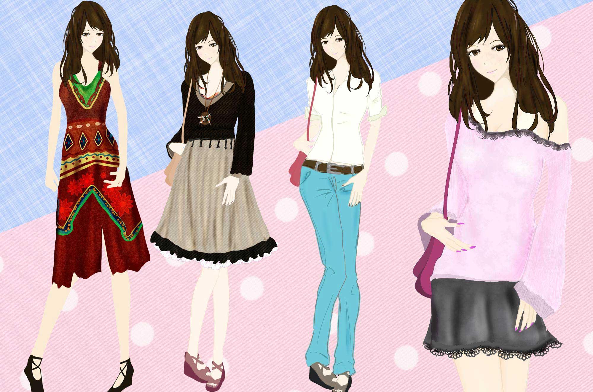ファッションイラスト , 可愛い服のデザイン無料素材
