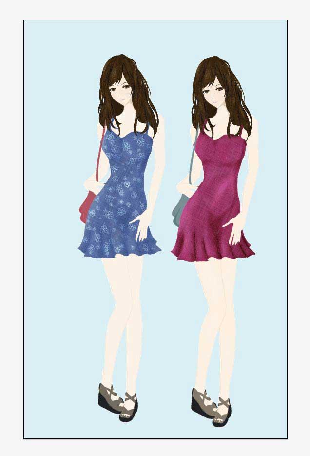 可愛いキャミソールのファッション高解像度イラスト
