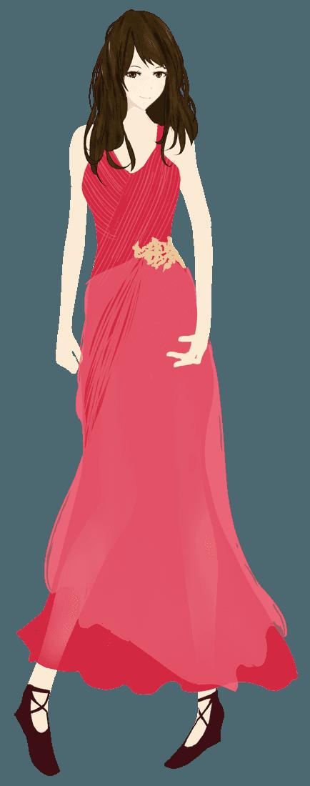 赤いビビットカラーのドレスファッションのイラスト