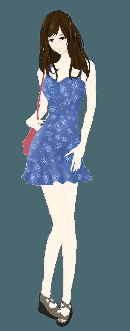 可愛い花柄キャミソース(ブルー)ファッションイラスト