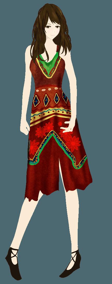 エスニックボヘミアンファッションイラスト