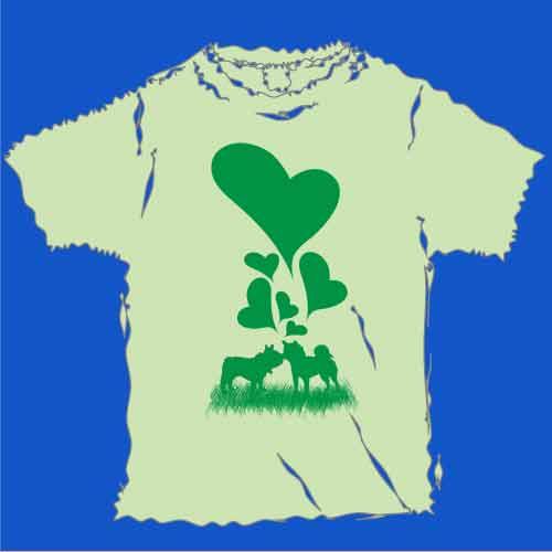 フレンチブルドッグと柴犬のラブTシャツ