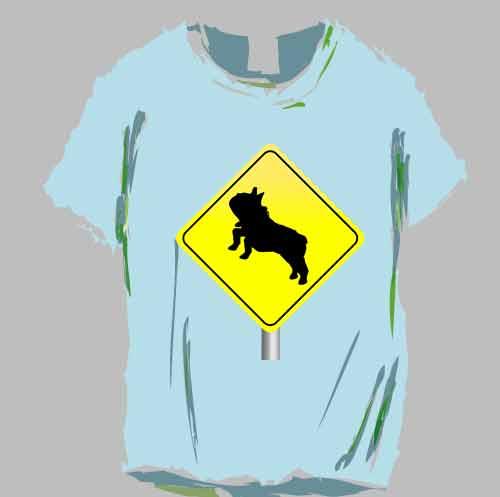 面白フレンチブルドッグの標識Tシャツ