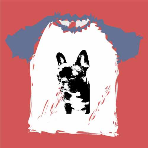 フレンチブルドッグのアートプリントTシャツ