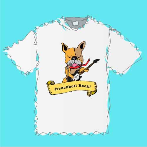 フレンチブルドッグのフレンチブルロックギターTシャツ