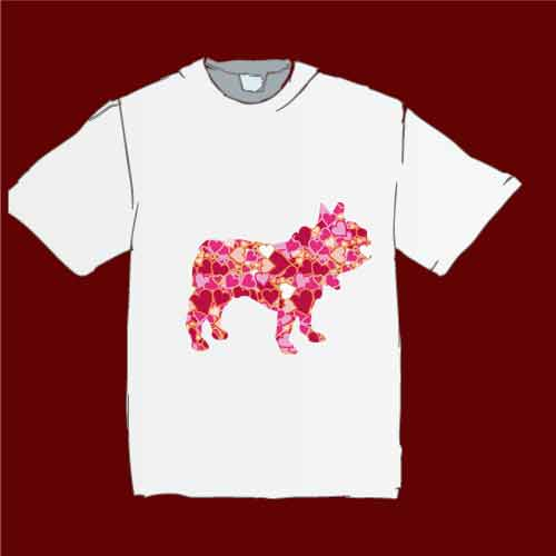 ハートのフレンチブルドッグTシャツ