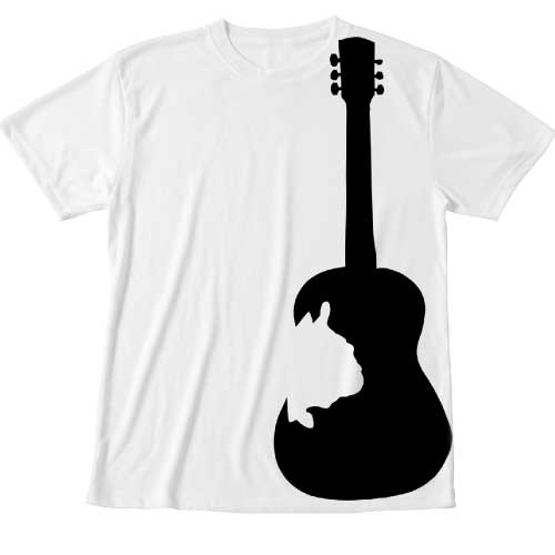 ギターシルエットのビックプリントTシャツ
