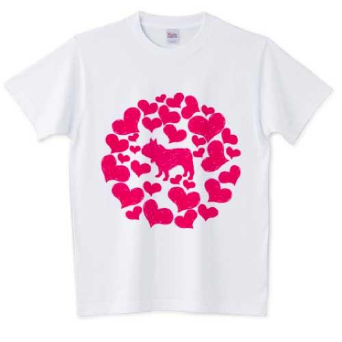 ハートが結ぶ円のフレンチブルドッグTシャツ