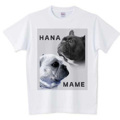 ハナとマメのフレンチブルドッグTシャツ