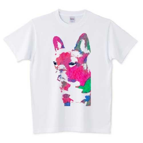 水彩アートフレンチブルドッグアートTシャツ