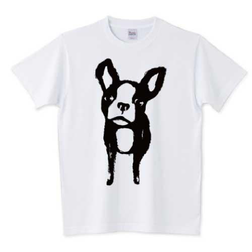 墨で描いたフレンチブルドッグTシャツ
