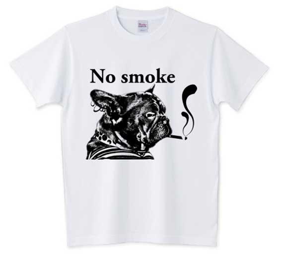 NO smokeフレンチブルドッグTシャツホワイト