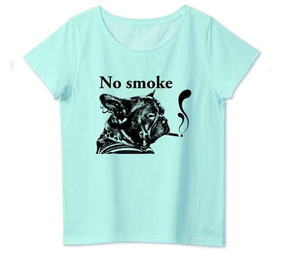 NO smokeフレンチブルドッグTシャツホワイト レディースブルー