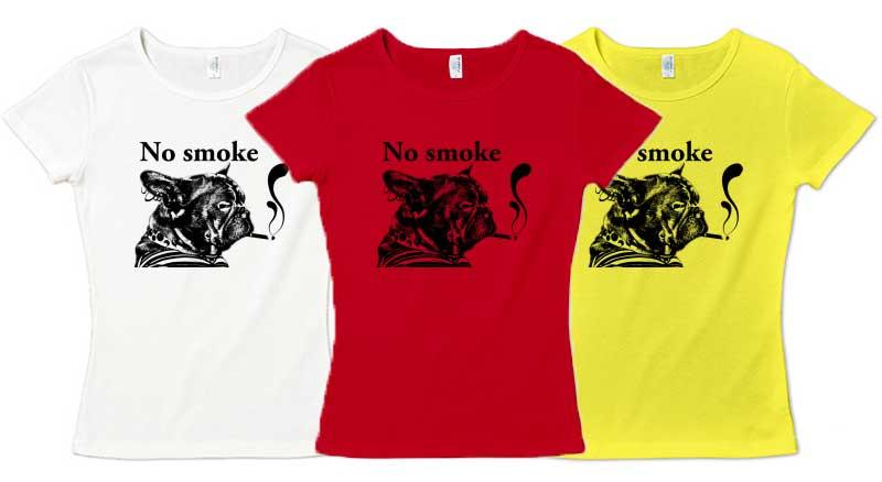 NO smokeフレンチブルドッグTシャツ レディース 赤 黄色 白
