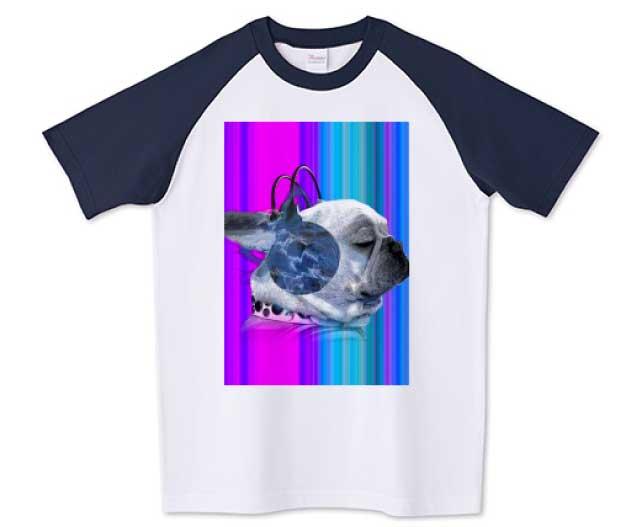 funnyfrenchグラデ ラグランTシャツ ネイビー